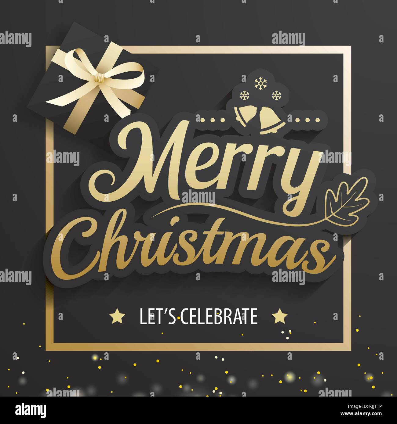 merry christmas greeting card and party invitations on black background vector illustration element for happy new year design