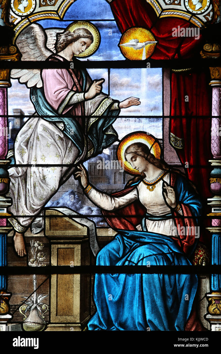 annunciation of mary stained glass stock photos