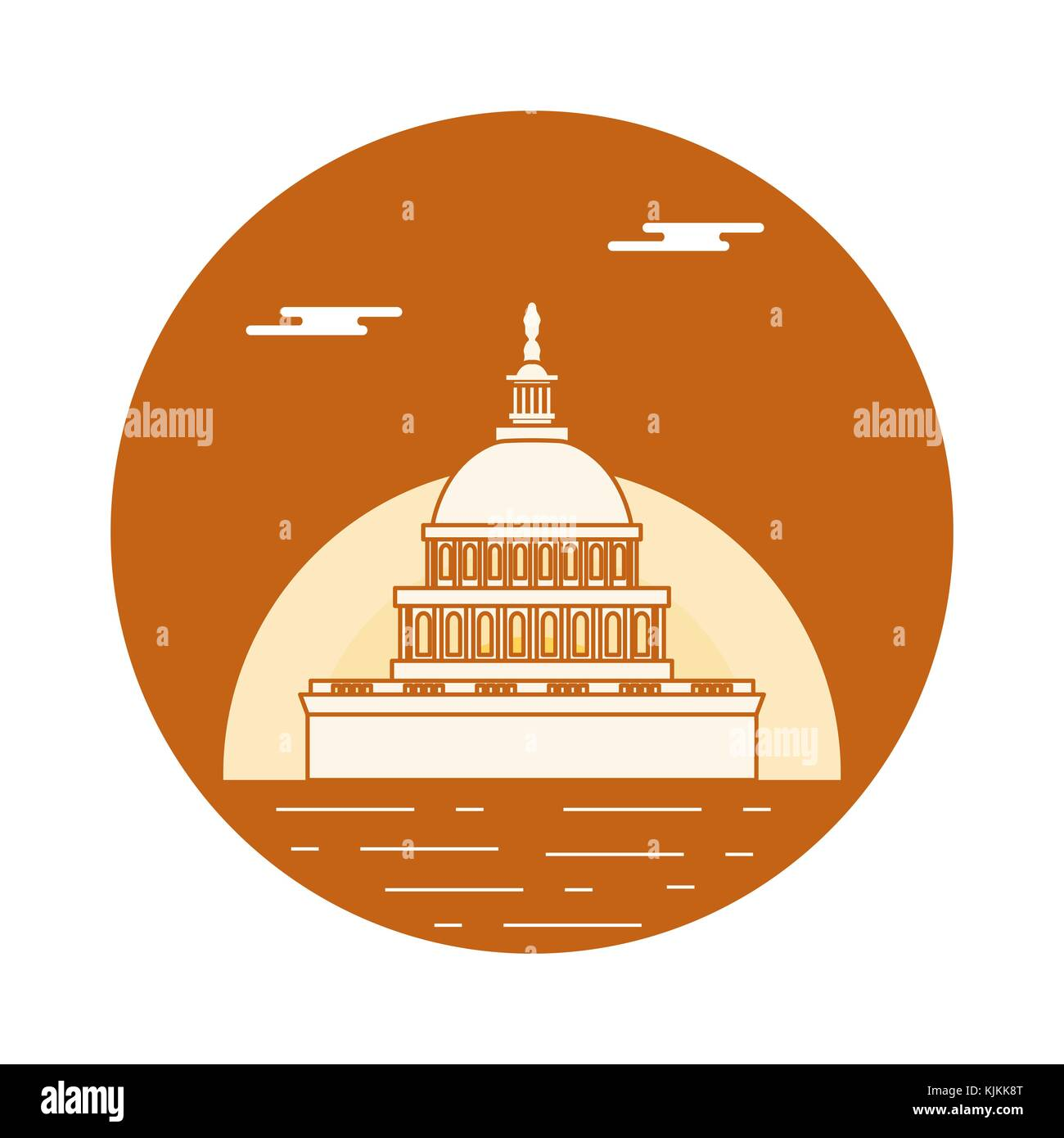 Silhouette Of Famous Building In The Usa The Capitol Building Of
