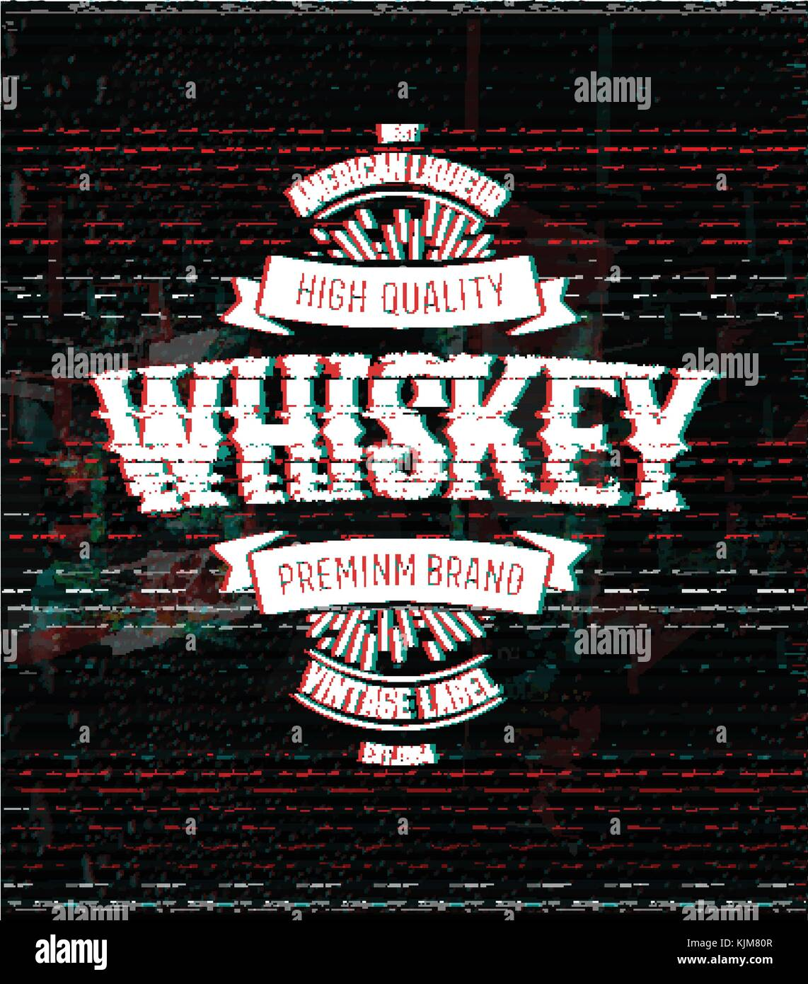 whiskey retro logo template vintage glitch vector label stock