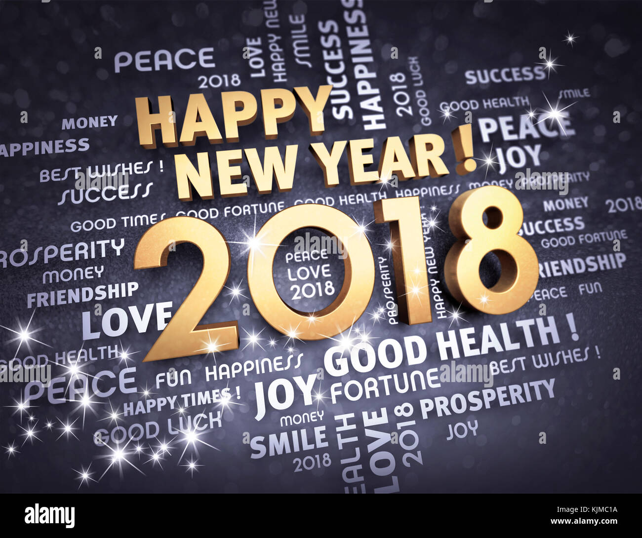 greetings and new year date 2018 colored in gold glittering on a black background 3d illustration