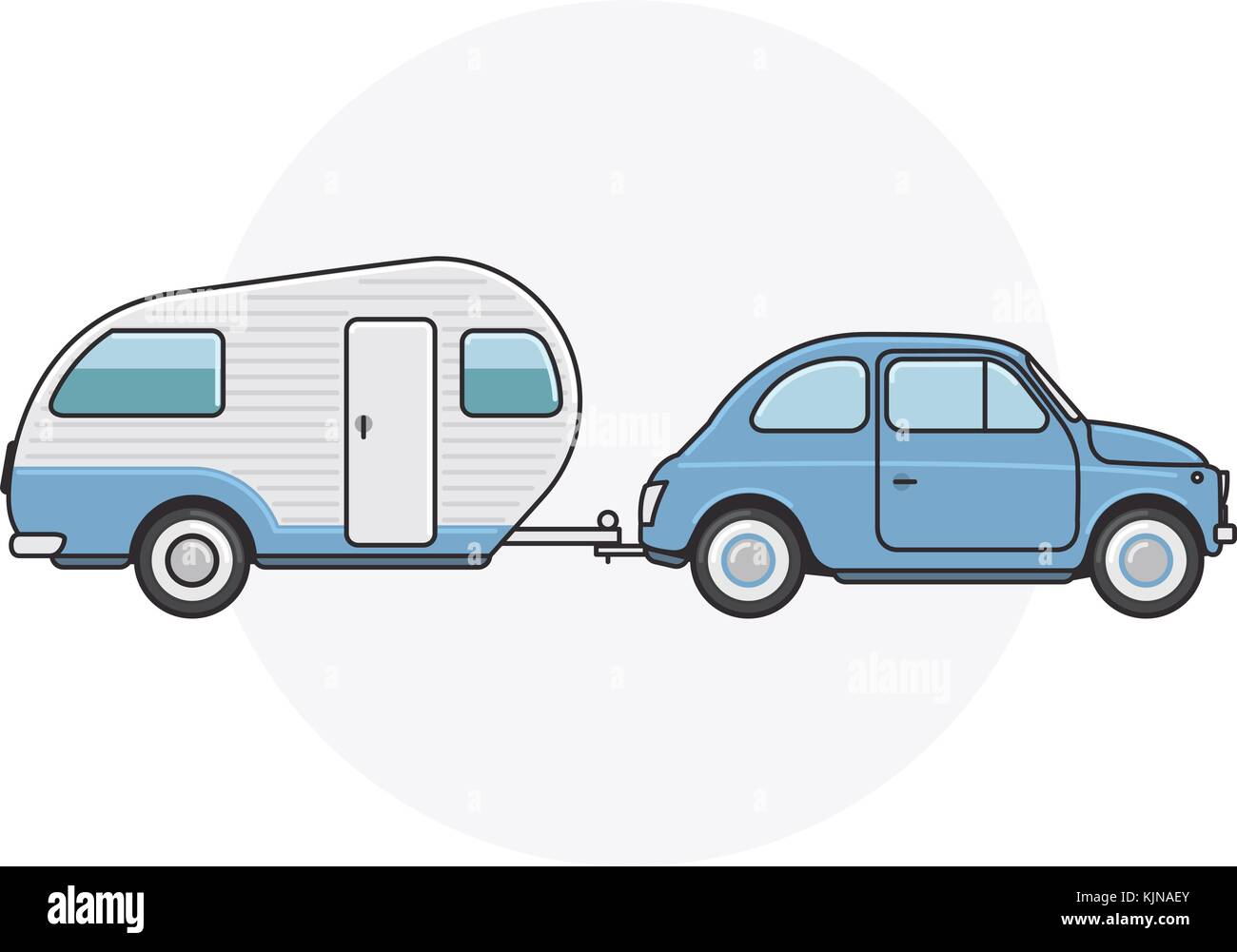 Retro Car With Camper Trailer