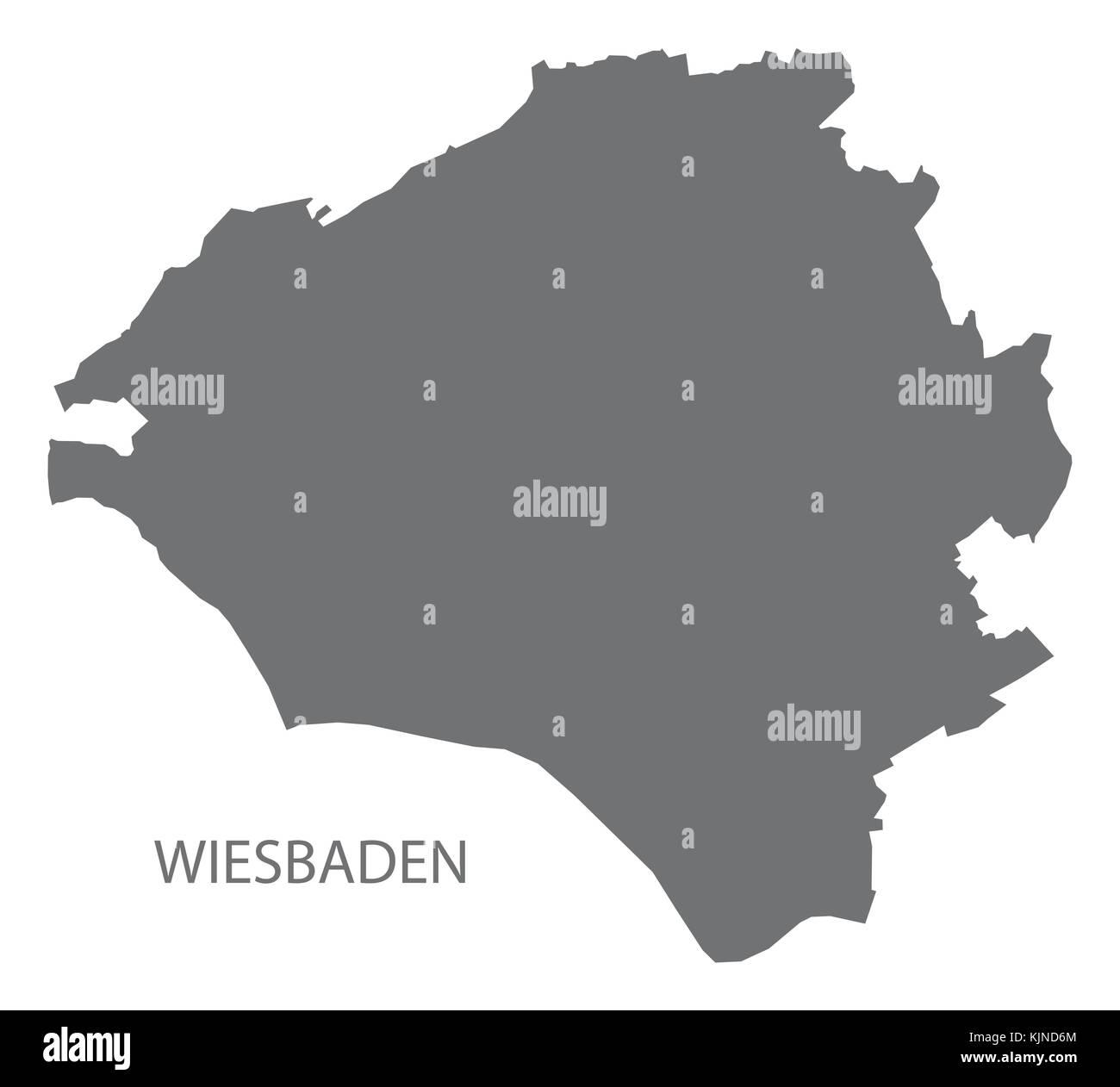 Wiesbaden city map grey illustration silhouette shape Stock Vector