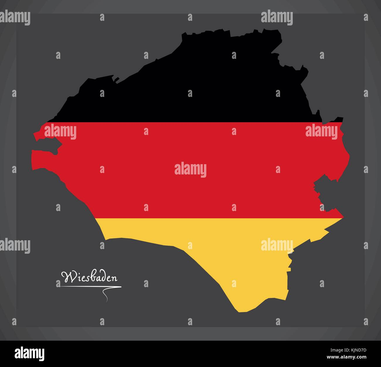 Wiesbaden City map with German national flag illustration Stock