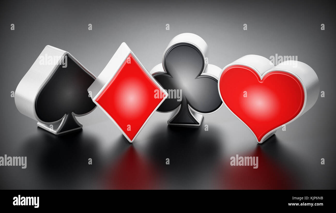 Playing card symbols stock photos playing card symbols stock playing card suits symbols standing on black background 3d illustration stock image biocorpaavc