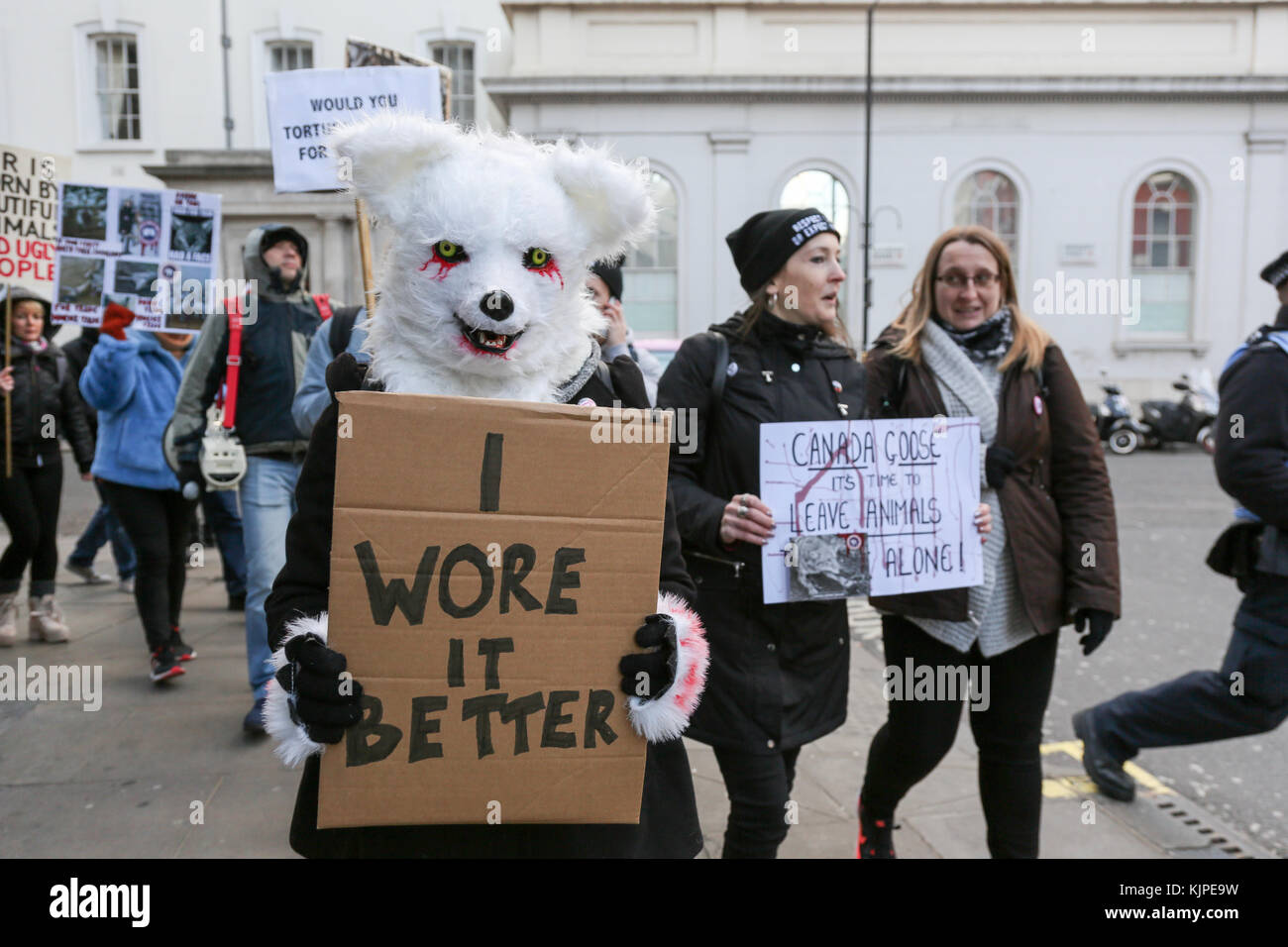 London, UK. 25th November, 2017. Anti fur protesters demonstrate outside , Canada Goose Store in Regents Street. Credit: Penelope Barritt/Alamy Live News