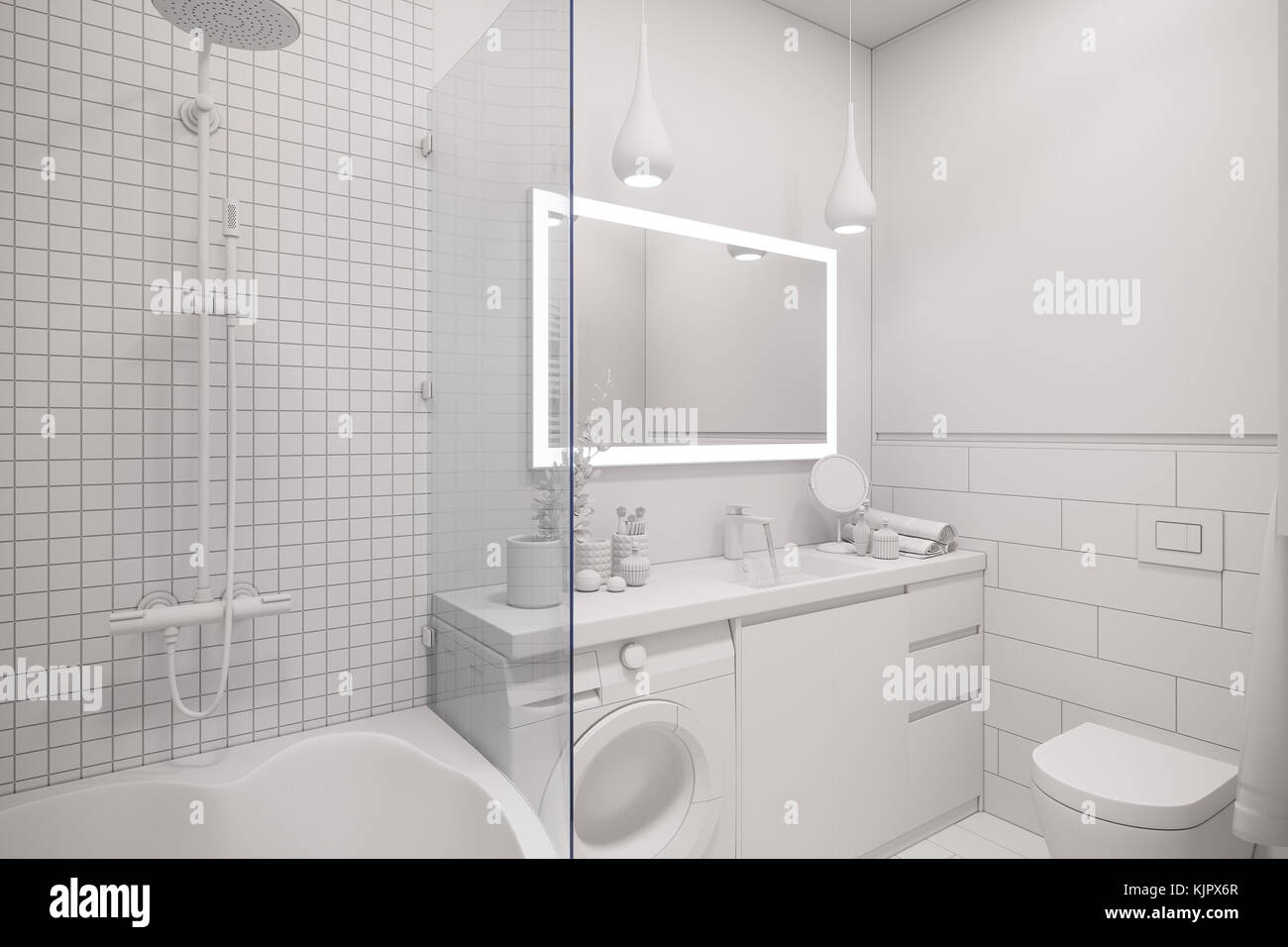 3d Illustration Of An Interior Design A White Minimalist Bathroom Modern Scandinavian Style Without Textures And Materials
