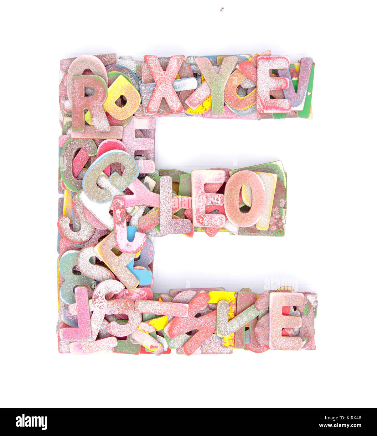 lots of small wooden letters to make up the letter e