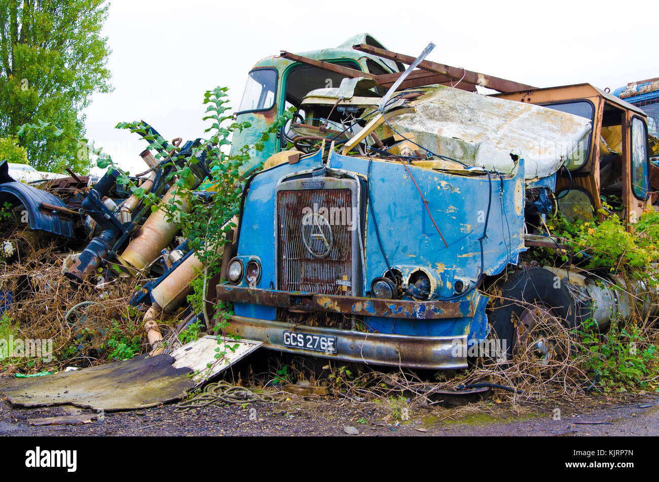 A scrap yard that specifically holds broken down vehicles for ...