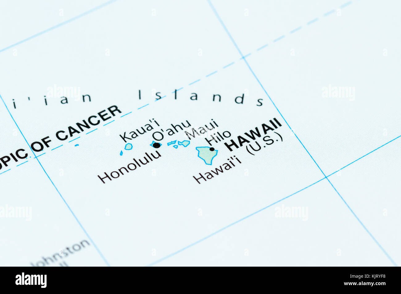 close up of a world map with Hawaii in focus Stock Photo: 166483612 ...