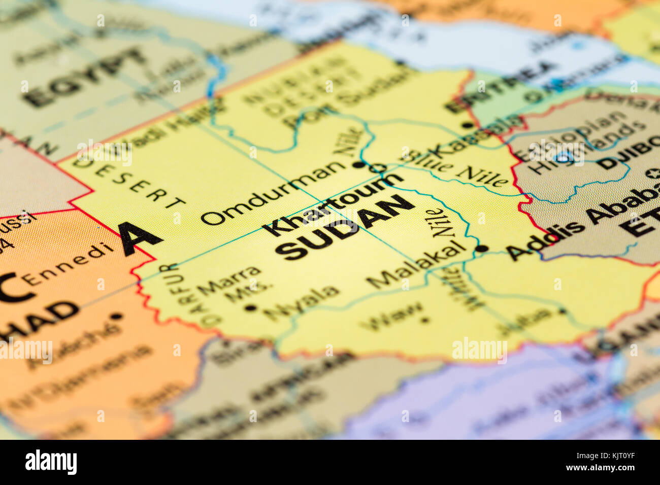 Close Up Of A World Map With The Country Of Sudan In Focus Stock