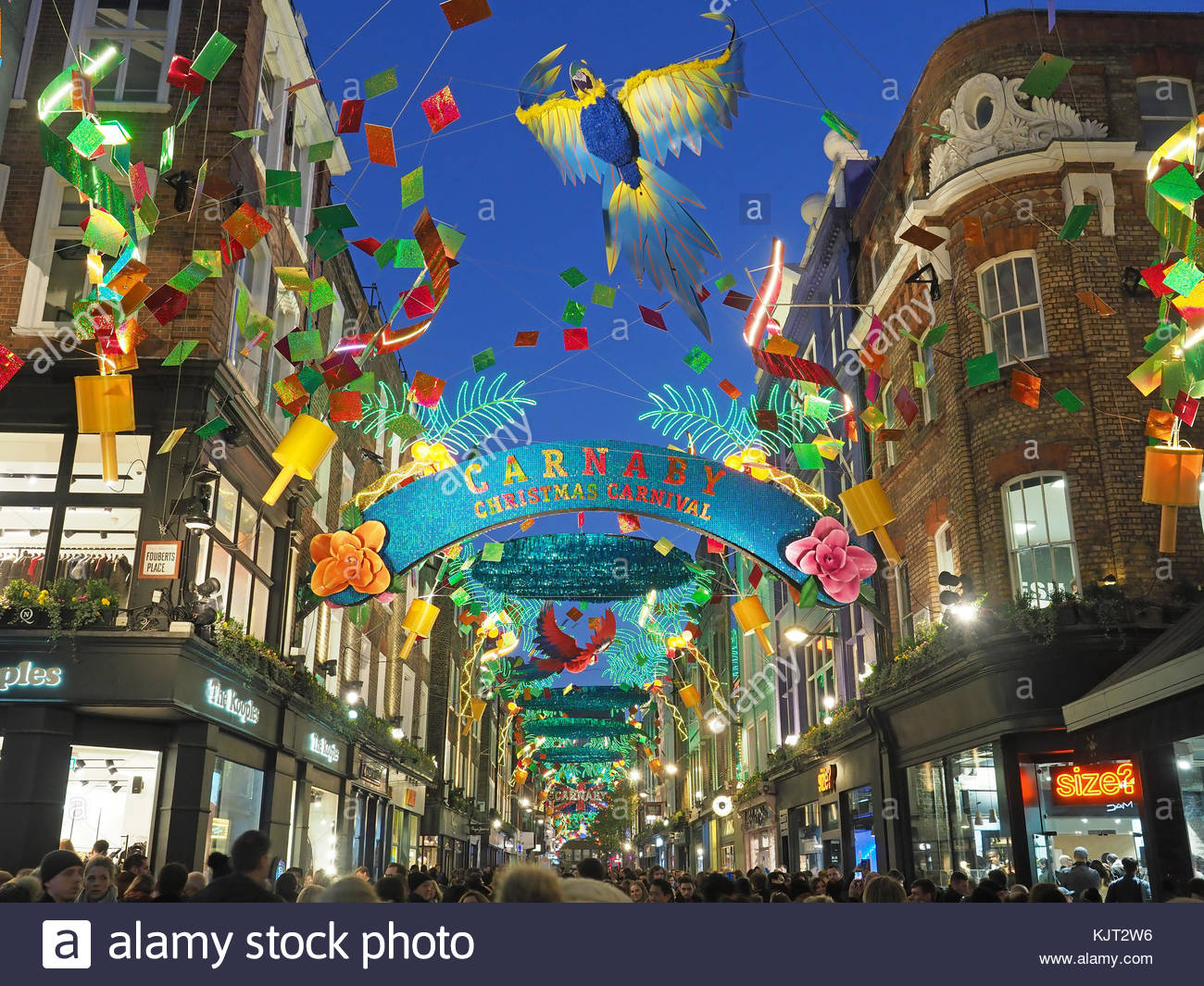 View Looking Up At The Beautiful Christmas Lights In Carnaby Street London  2017