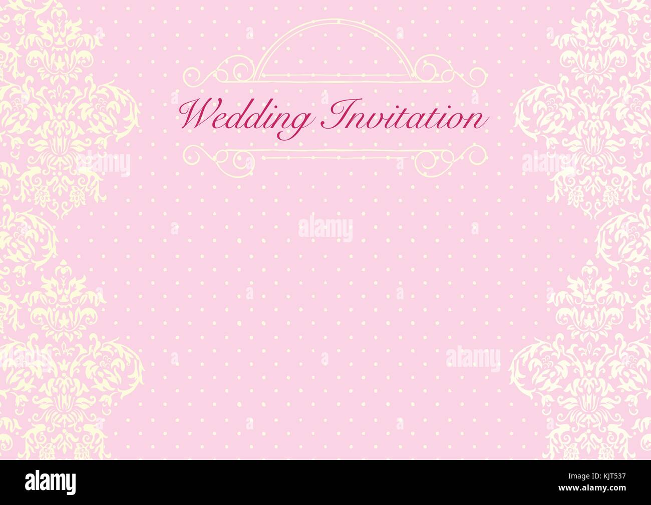 Wedding Background Stock Vector Images Alamy The Pink Invitation Card Template With Yellow Dotted