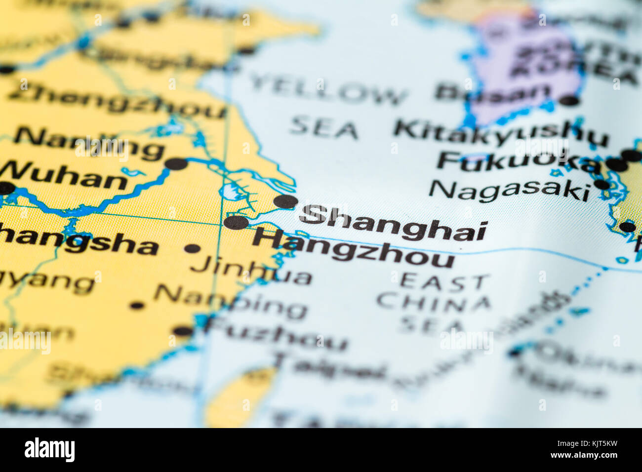 Close up of Shanghai on a world map Stock Photo: 166488445 - Alamy