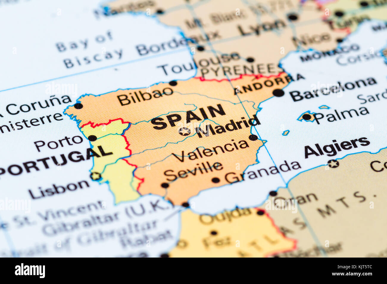 Close up of a world map with Spain in focus Stock Photo: 166488572 ...