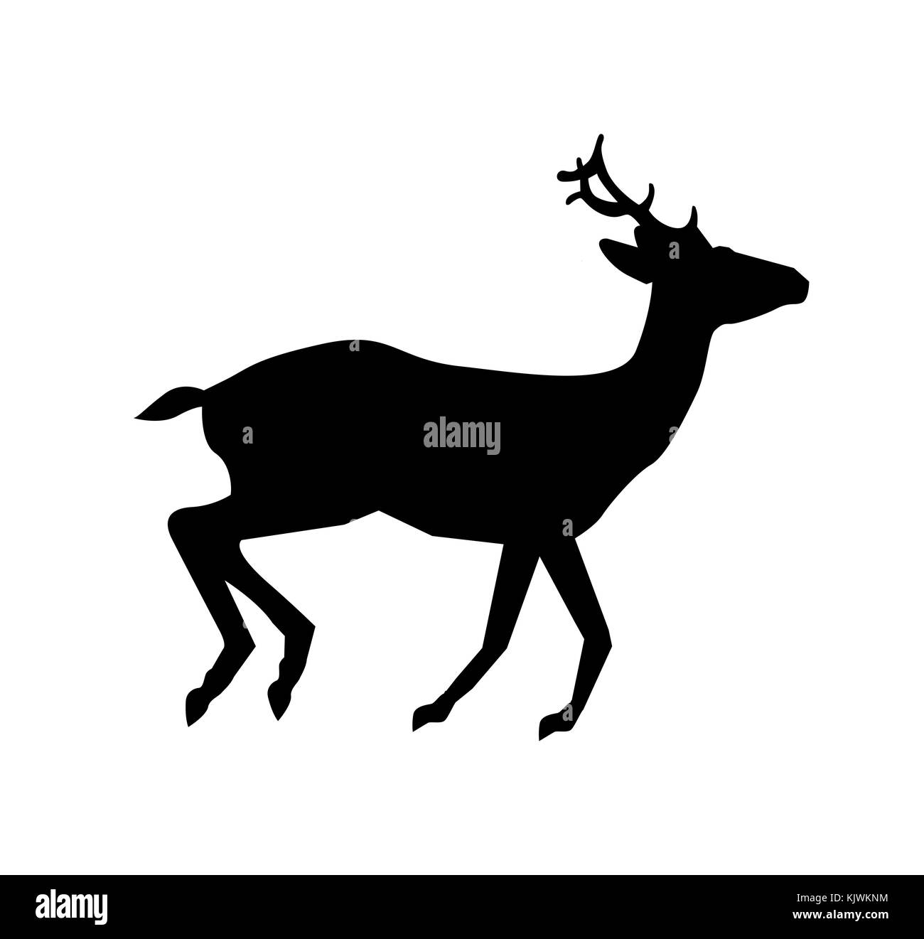black silhouette of running reindeer isolated on white background vector illustration icon sign