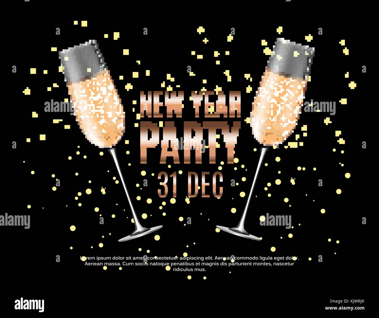 Happy New Year Party 31 December Poster Vector Illustration Stock