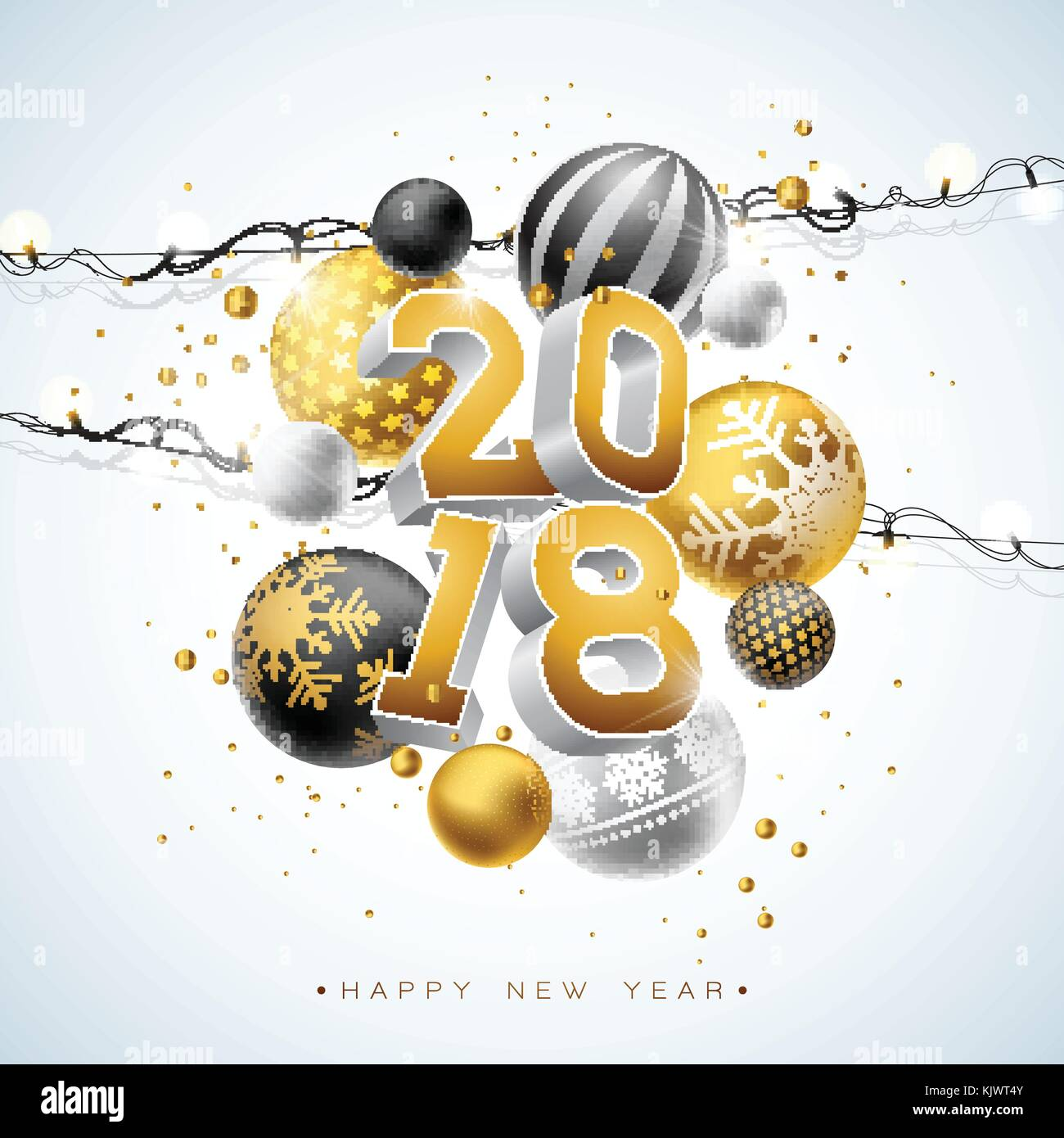 2018 happy new year illustration with gold 3d number light garland and ornamental ball on white background vector holiday design for premium greeting card