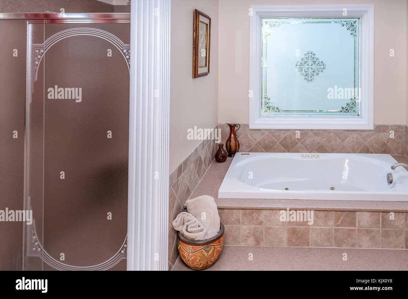 Bathroom interior of middle class American home in Kentucky, USA ...