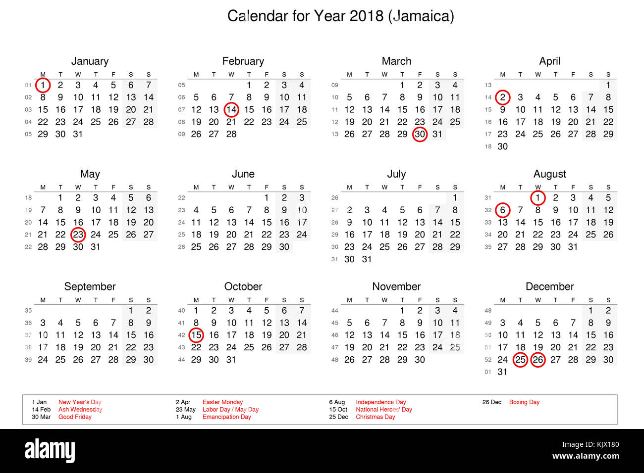 calendar of year 2018 with public holidays and bank holidays for jamaica