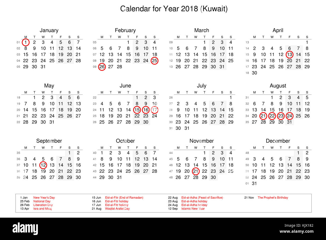 calendar of year 2018 with public holidays and bank holidays for kuwait