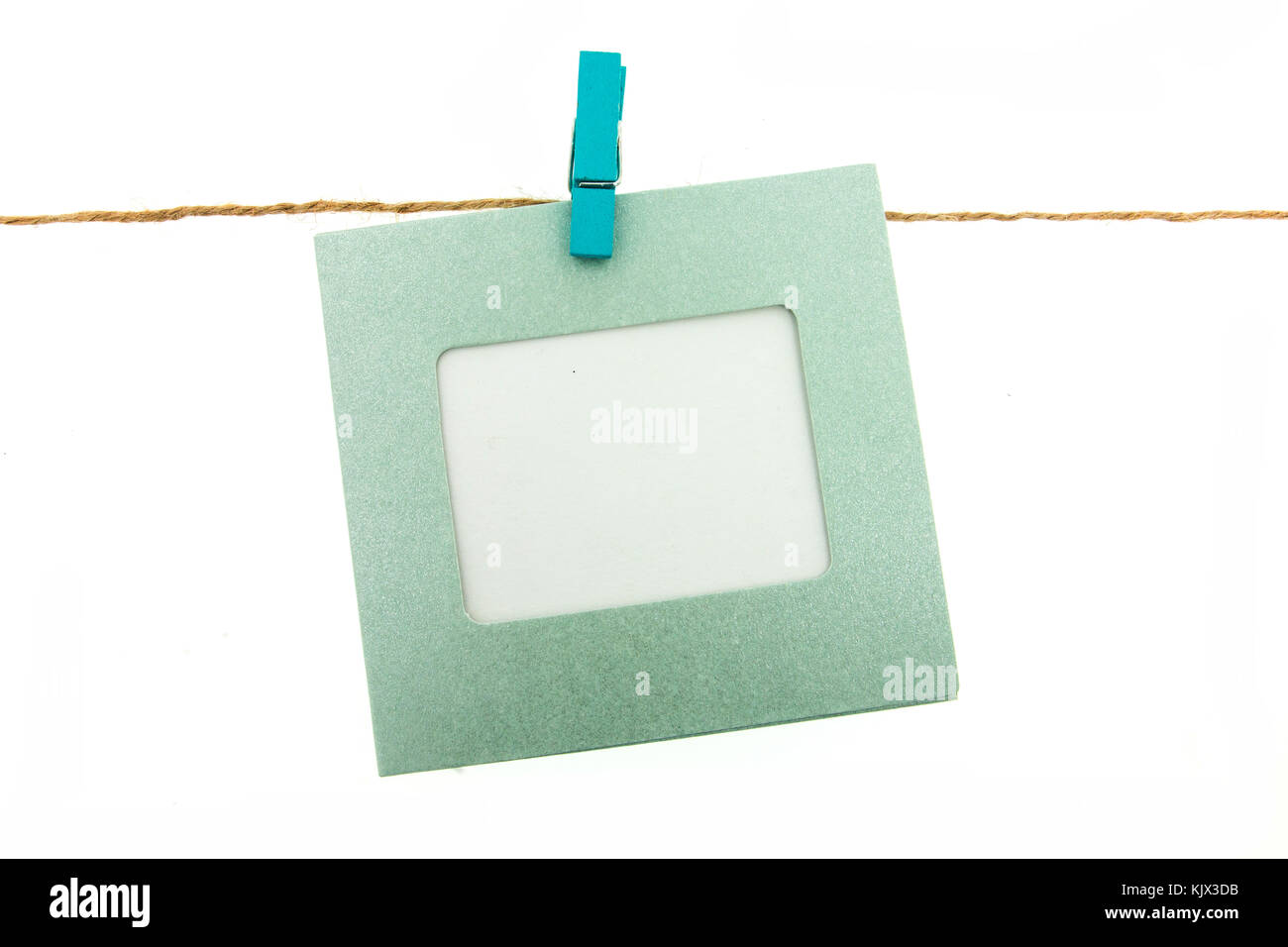 clothespin and frame card hanging on rope with colorful isolated on ...