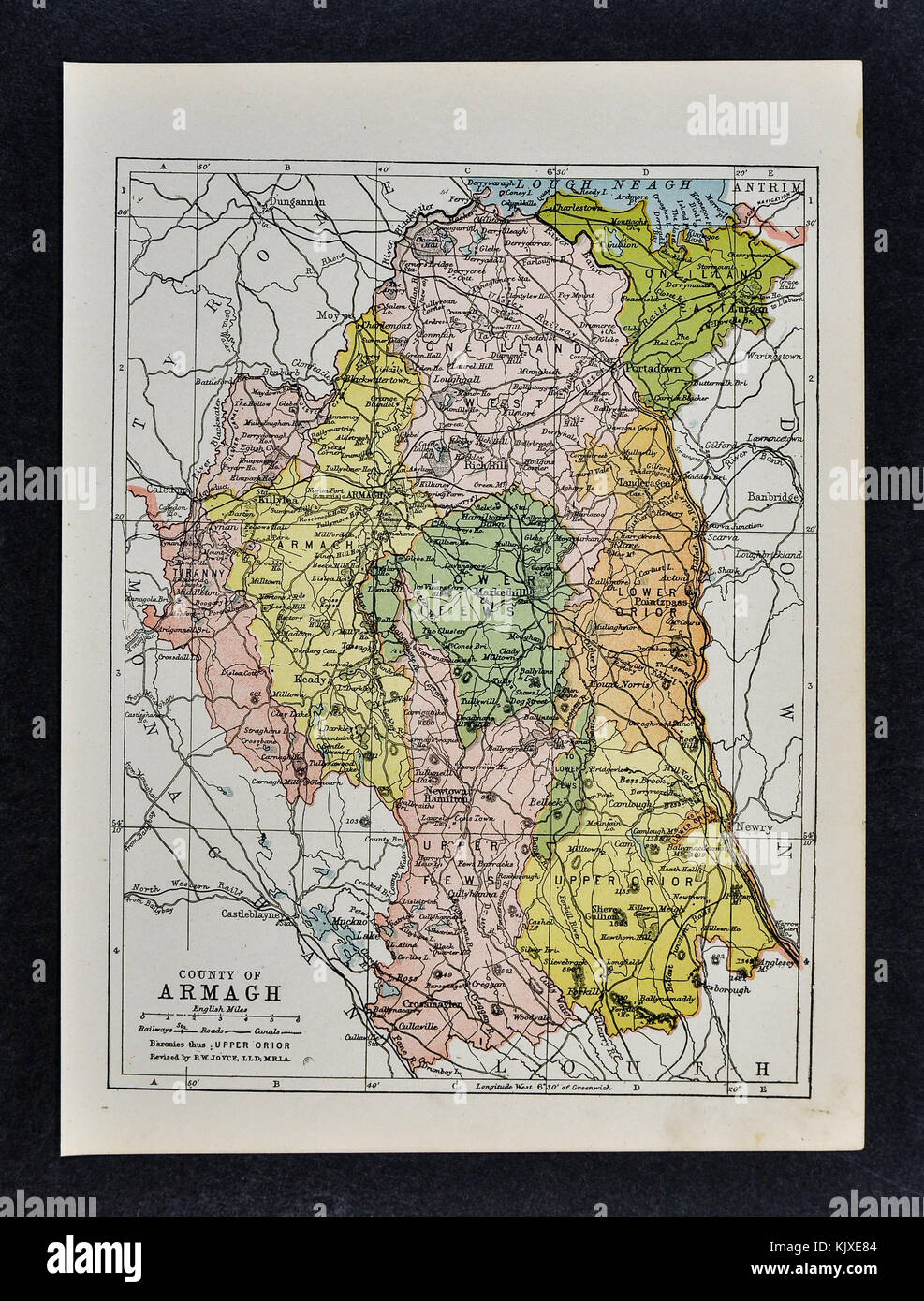 County Armagh Ireland Map.Antique Ireland Map Armagh County Markethill East Lurgen