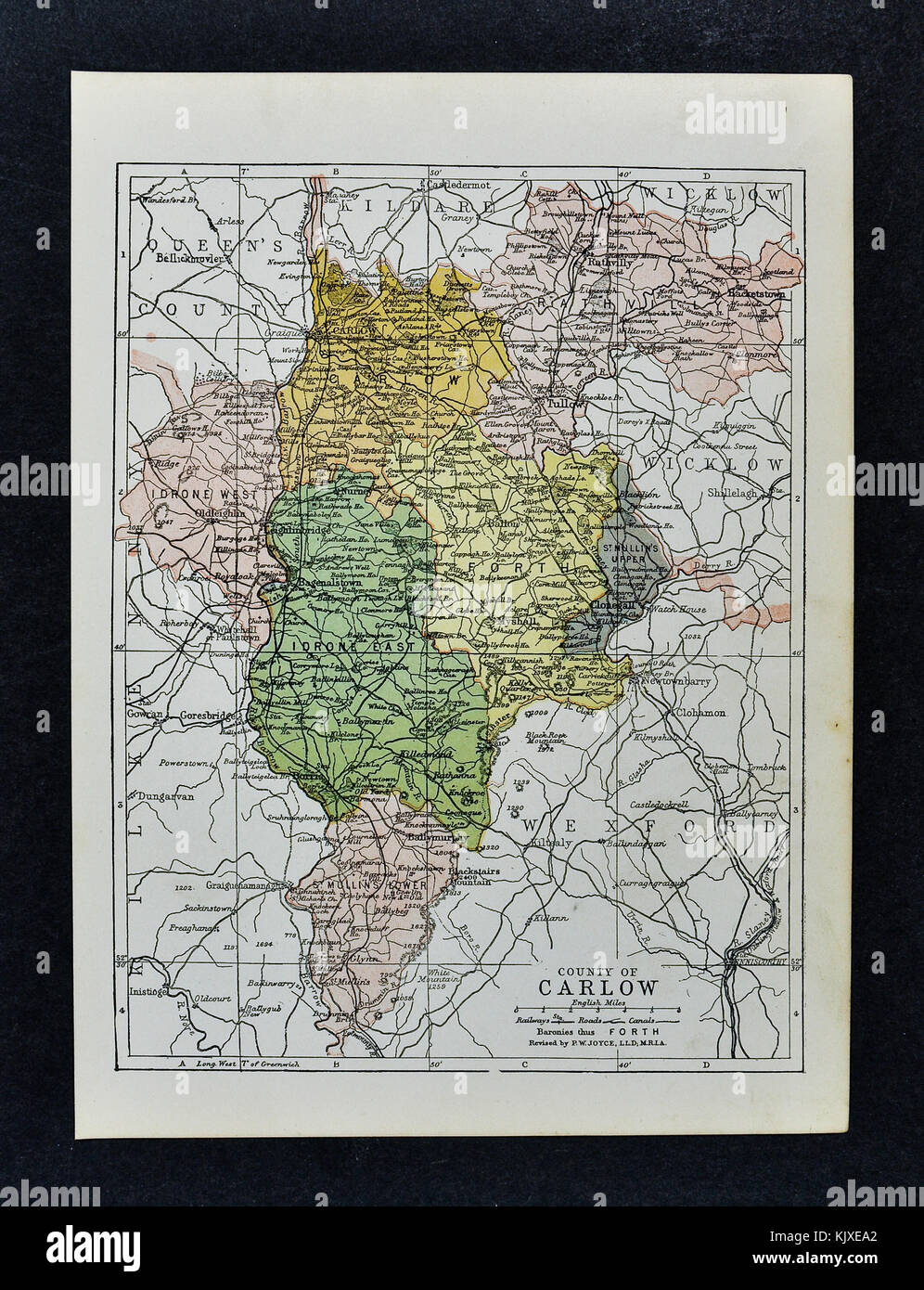 Antique Ireland Map Carlow County Tullow Clonegall Bagenalstown
