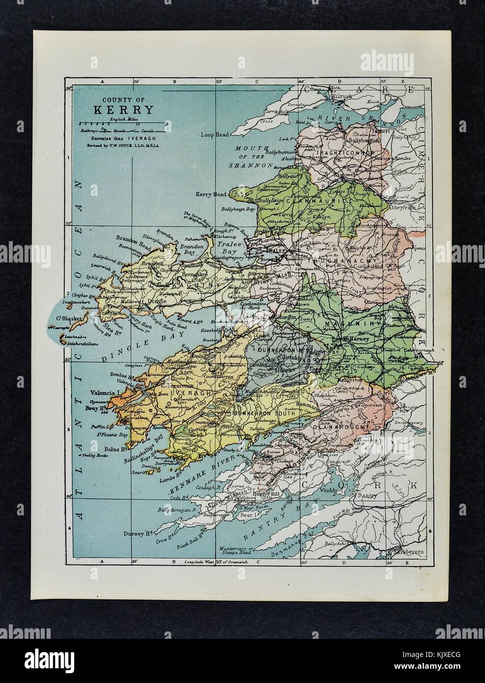 Antique Ireland Map Kerry County Killarney Listowel Tralee Stock