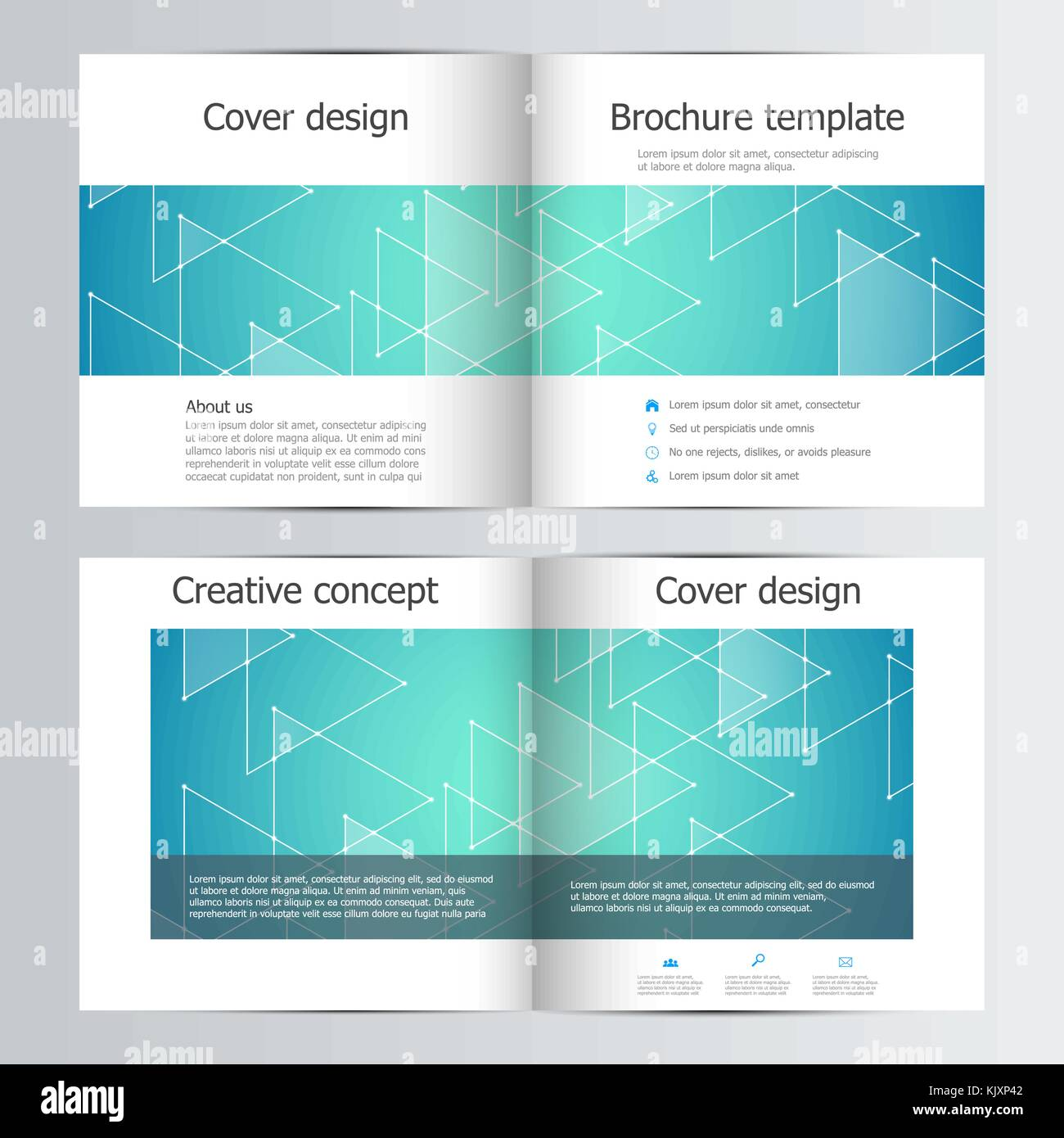 Bi Fold Square Brochure Template Layout Cover Annual Report Minimalist Geometric Abstract Background Vector Illustration