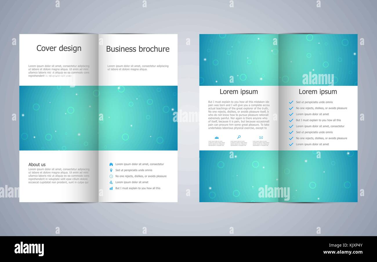 Bi Fold Business Brochure Template With Molecular Structure Stock
