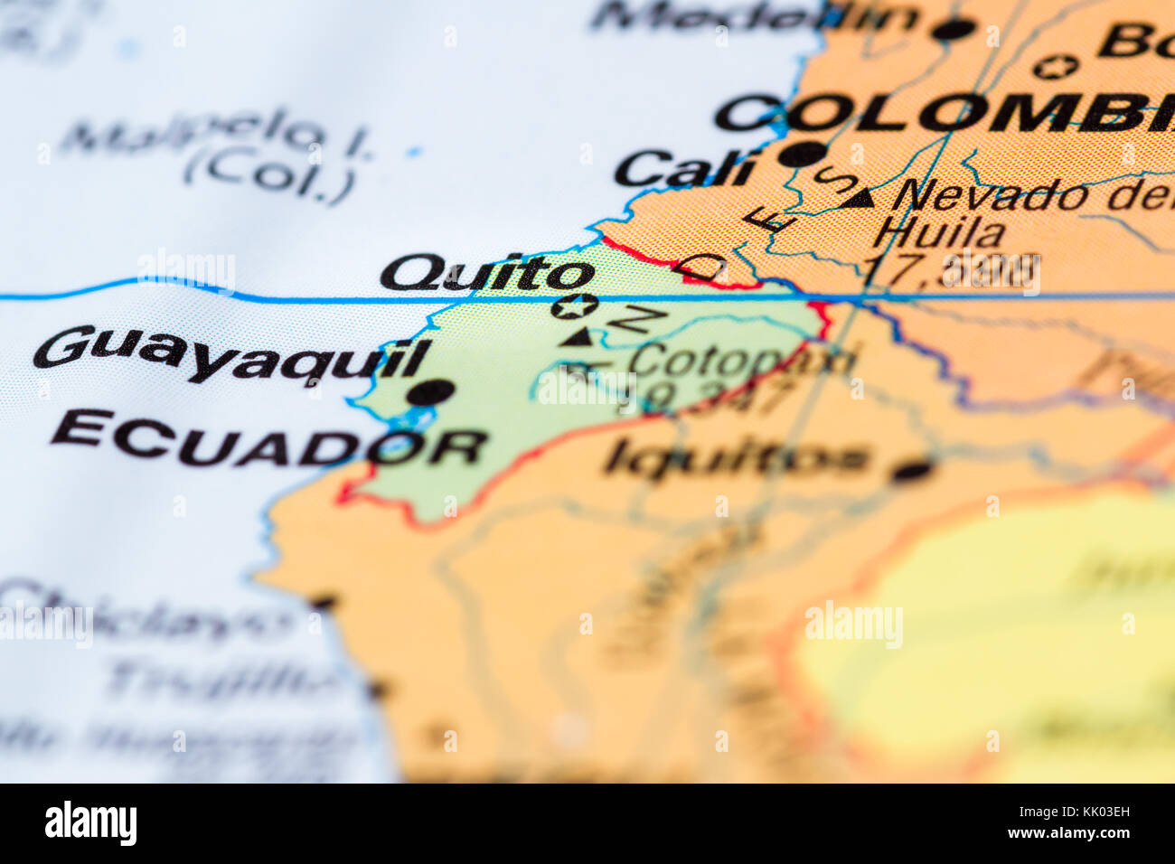Close up of a world map with the city of quito in focus stock photo close up of a world map with the city of quito in focus gumiabroncs Images