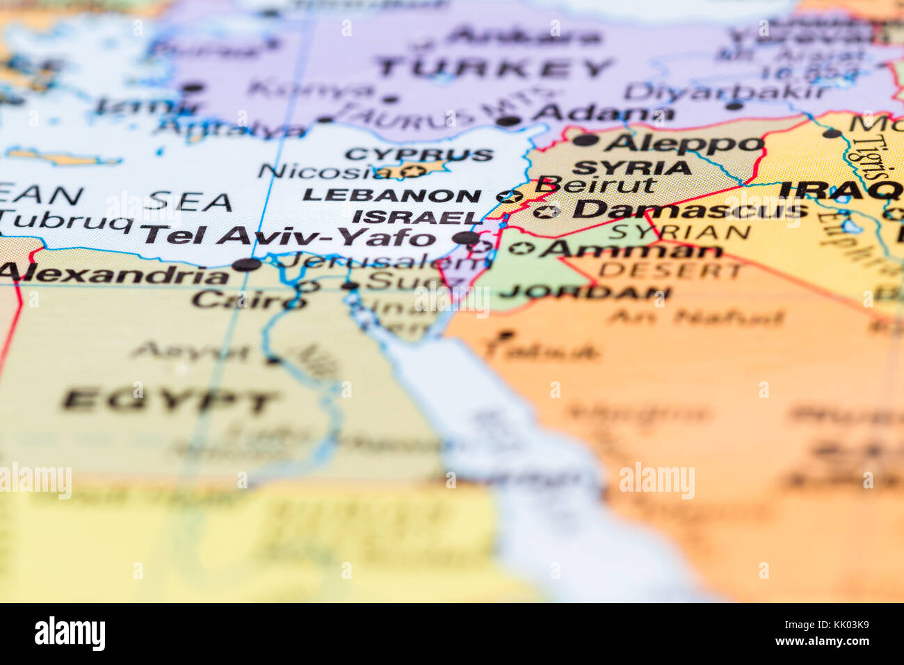 close up of a world map with the country of Israel in focus Stock ...