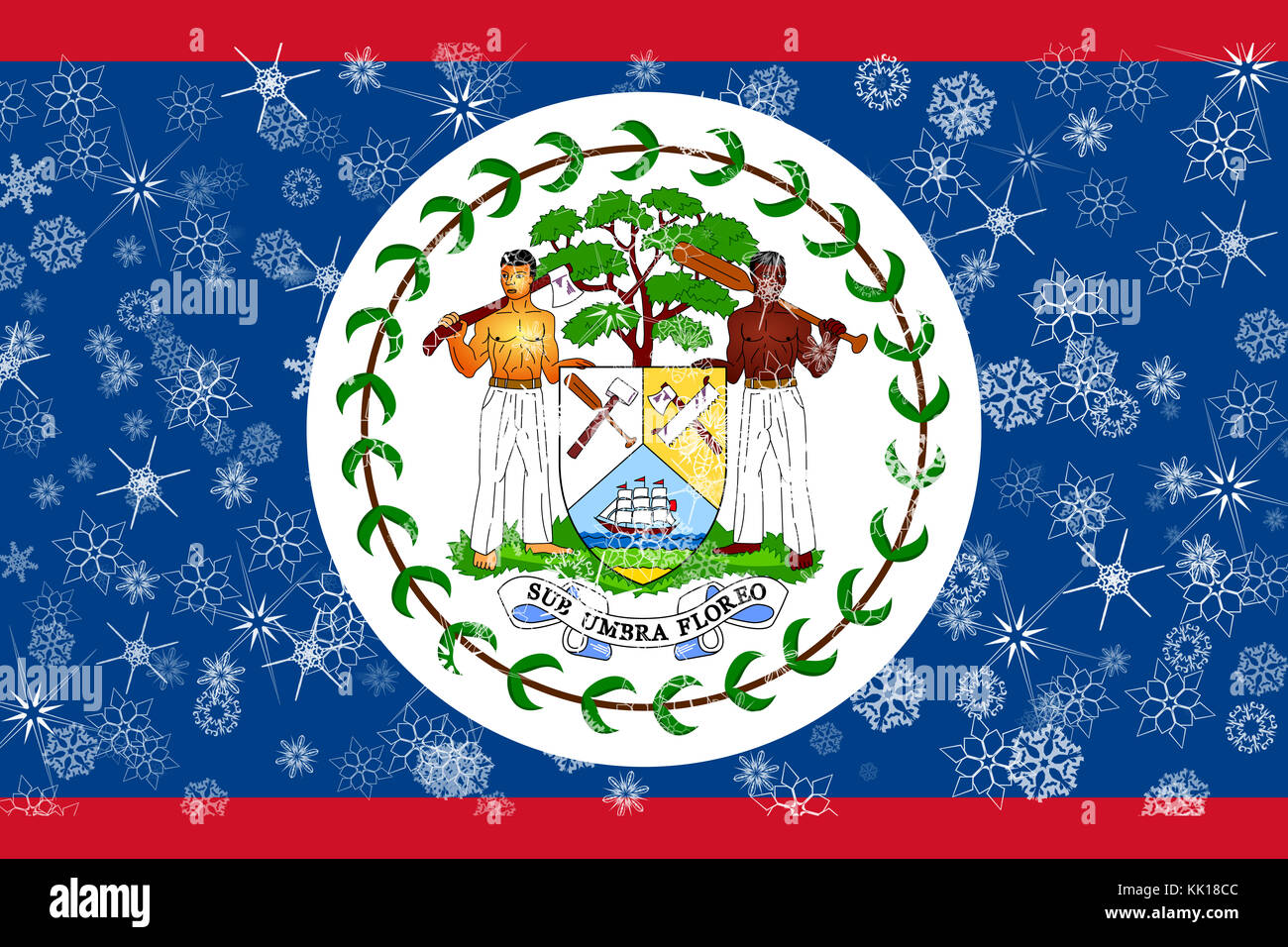 National flag of belize stock photos national flag of belize belize winter snowflake flag stock image biocorpaavc Image collections