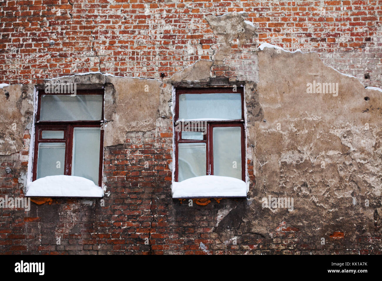 Brick wall winter cold stock photos brick wall winter for Windows for cold climates