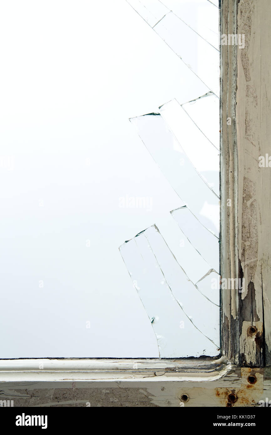Broken window glass with wooden vintage frame around Stock Photo ...