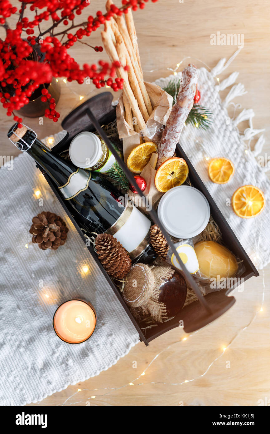 Christmas gift basket with food and decorations Stock Photo ...