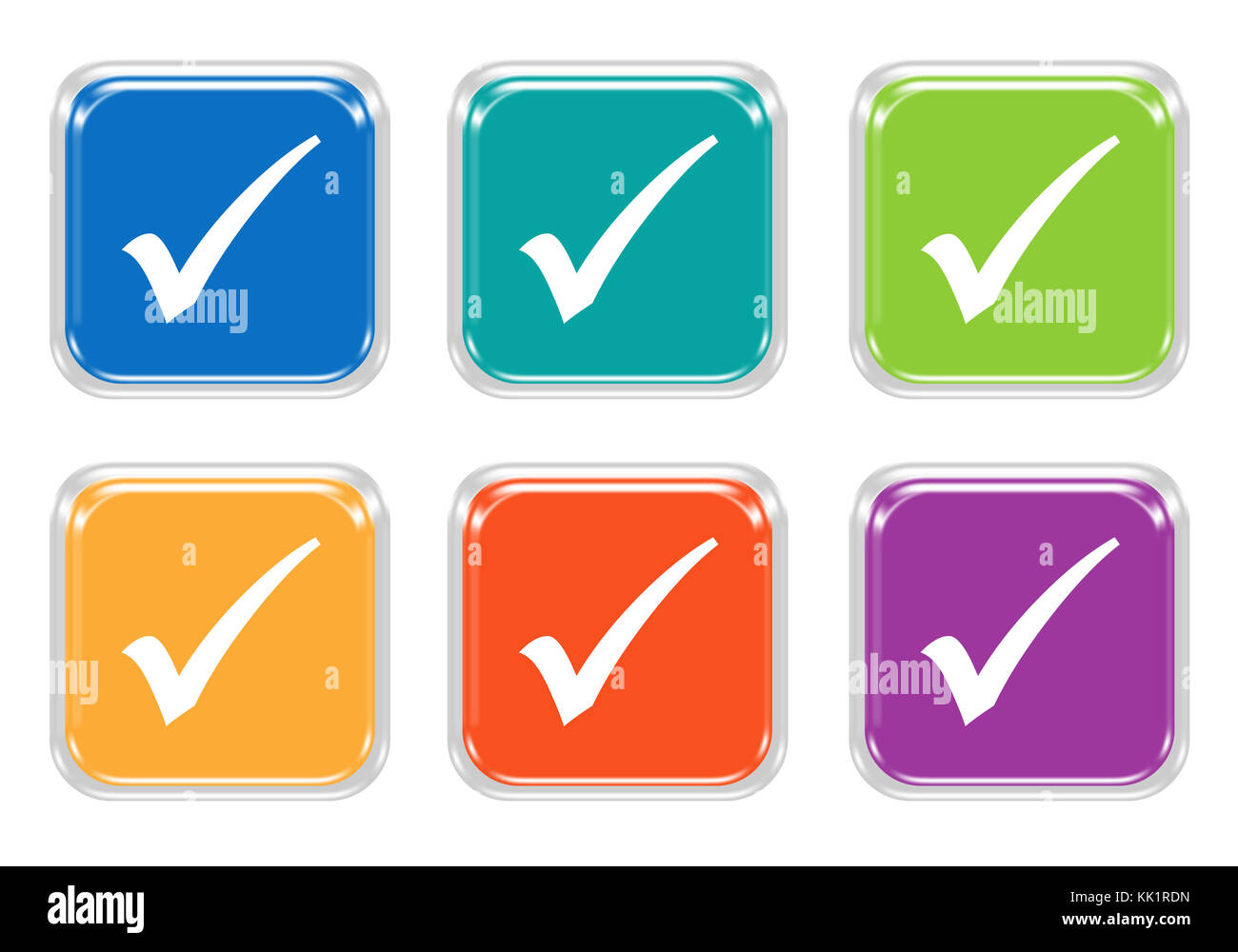 Set of rounded square colorful buttons with check symbol in blue set of rounded square colorful buttons with check symbol in blue green yellow purple and orange colors biocorpaavc Image collections