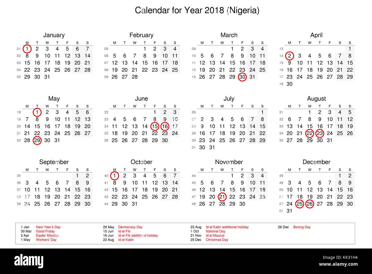 Calendar Nigeria : Nigeria monday stock photos images