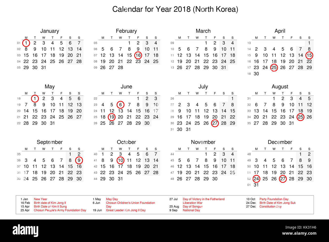 calendar of year 2018 with public holidays and bank holidays for north korea
