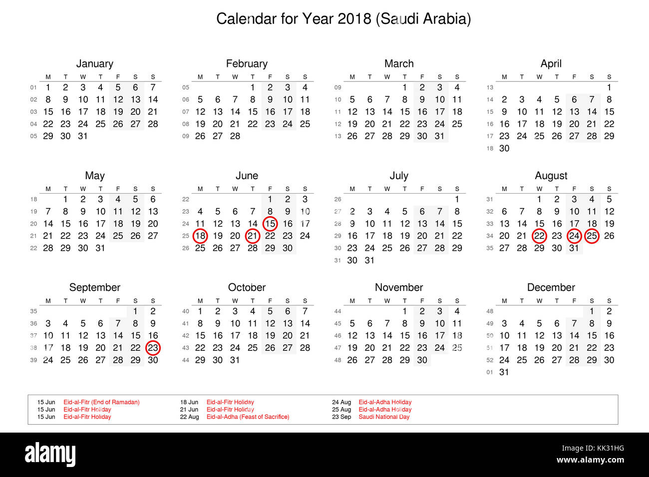 calendar of year 2018 with public holidays and bank holidays for saudi arabia