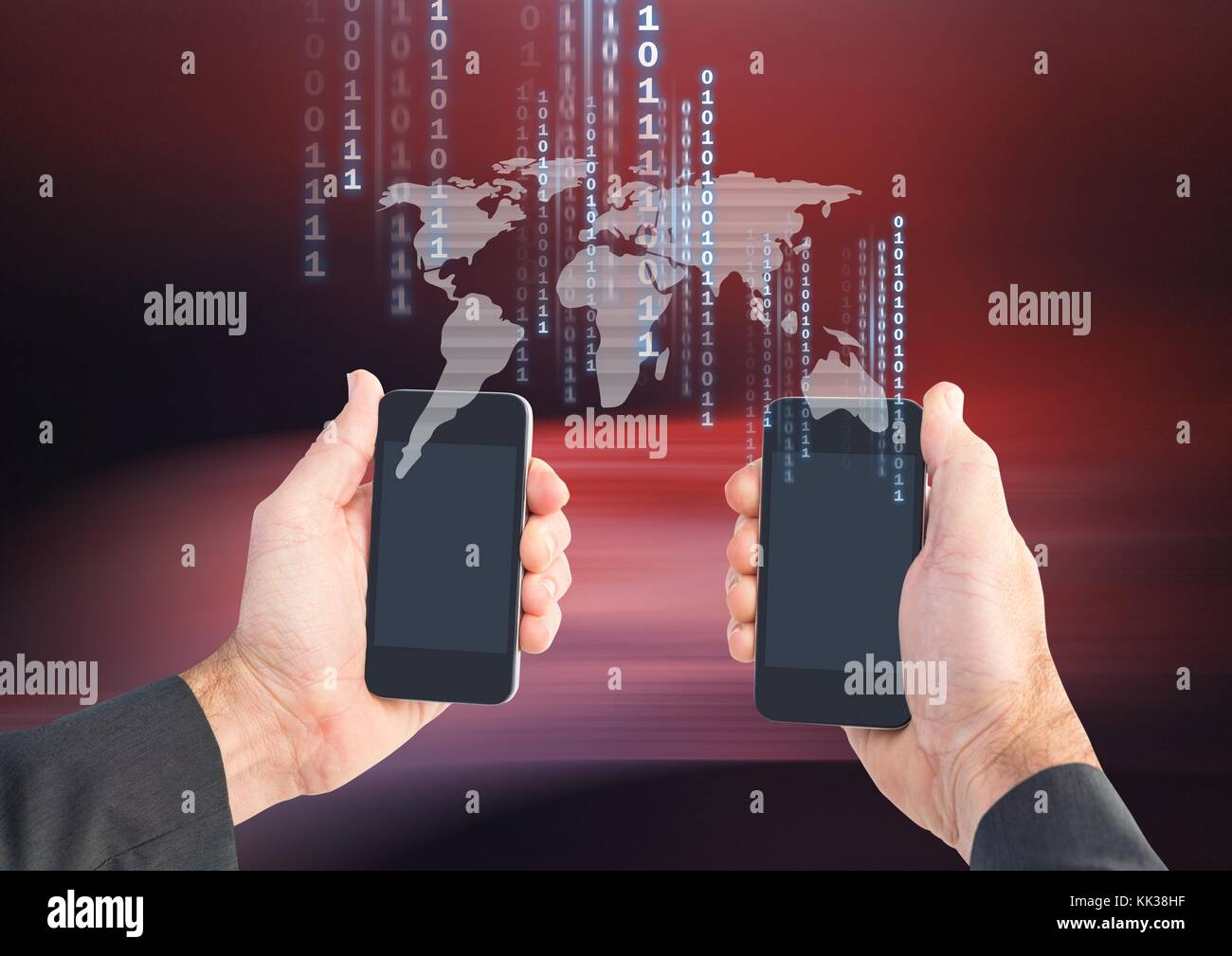 Digital composite of bitcoin icons on world map and hands holding digital composite of bitcoin icons on world map and hands holding two phones gumiabroncs Gallery