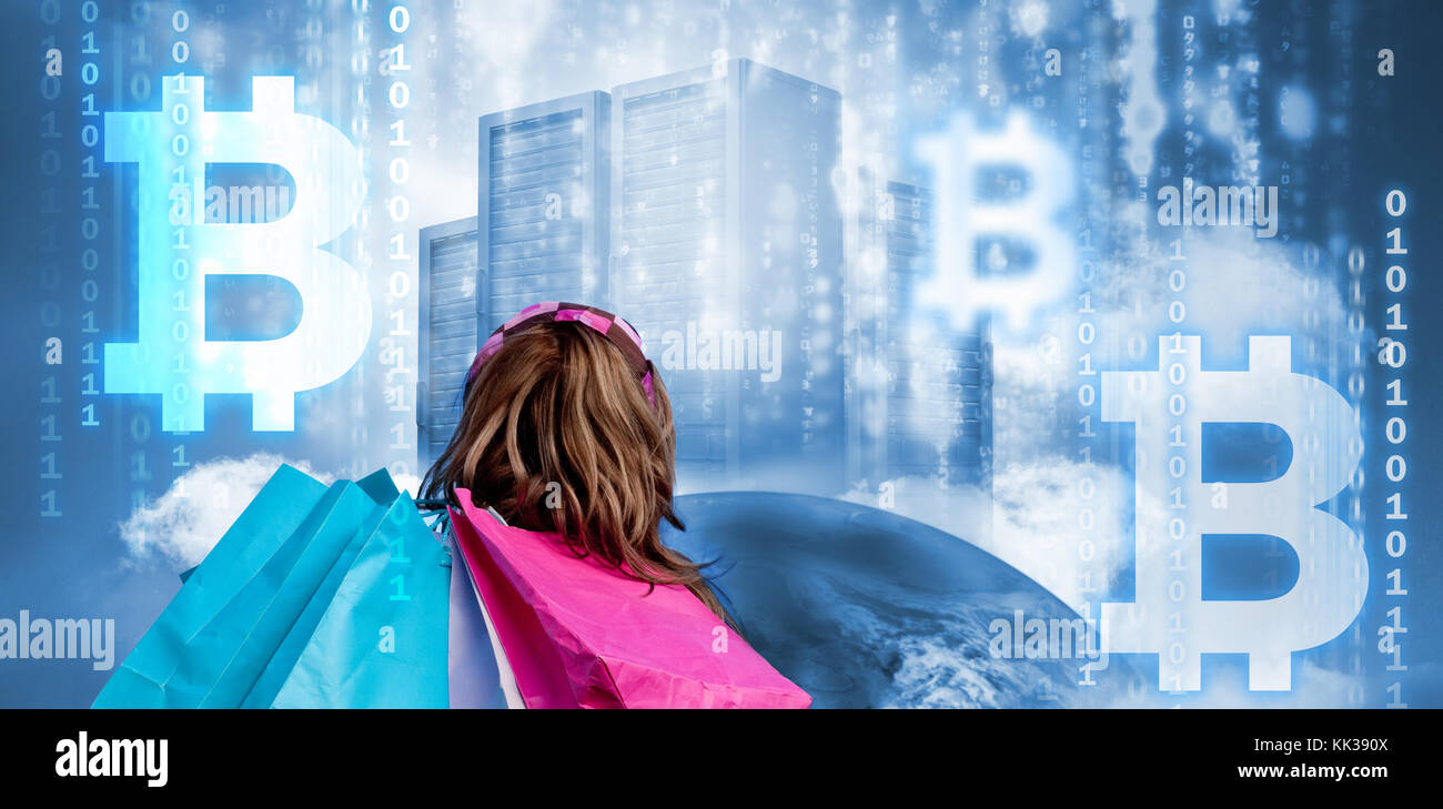 Symbol of bitcoin digital cryptocurrency against girl with symbol of bitcoin digital cryptocurrency against girl with shopping bags looking at data server top of earth biocorpaavc Choice Image