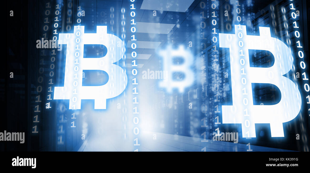 Symbol of bitcoin digital cryptocurrency against matrix falling in symbol of bitcoin digital cryptocurrency against matrix falling in data center biocorpaavc