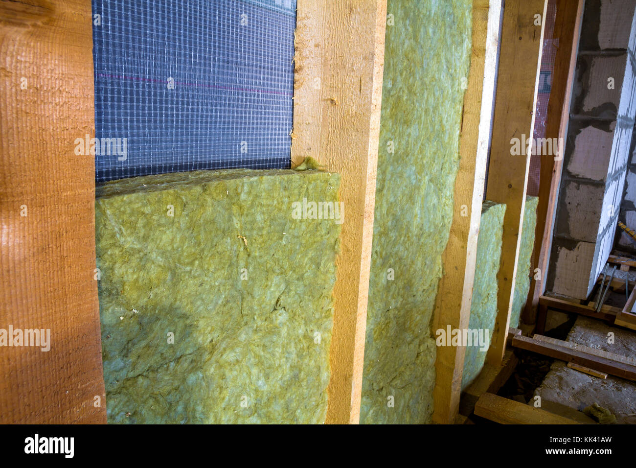 Architecture attic wood glass construction stock photos for Mineral wool installation