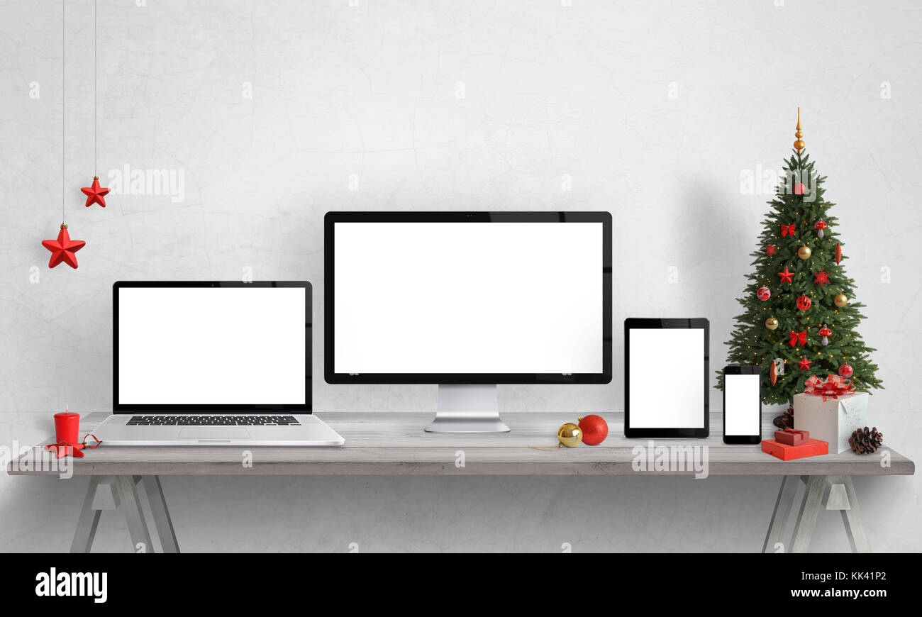 Responsive devices mockups with Christmas decorations. Isolated ...