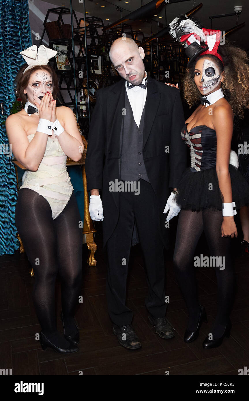the playboy club of london holds its haunted mansion halloween party 2017 featuring playboy bunnies lurch where london united kingdom when 27 oct 2017