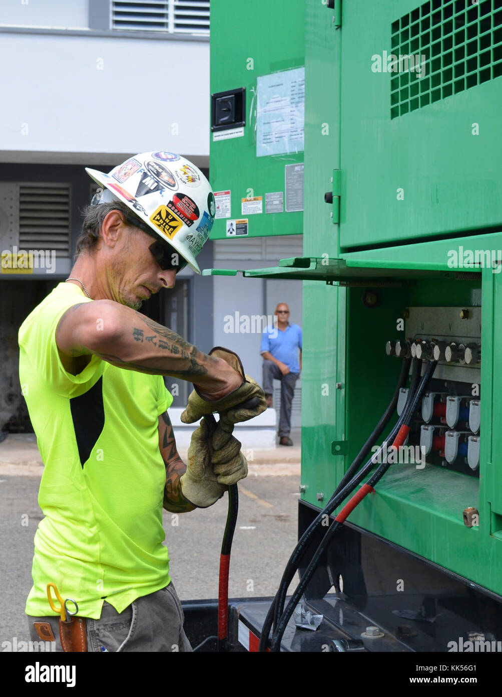 Us Army Corps Of Engineers Contractor Monte Miller Electrician Cable Wiring Prepares A To Be Connected From The Generator Panel Box Nov