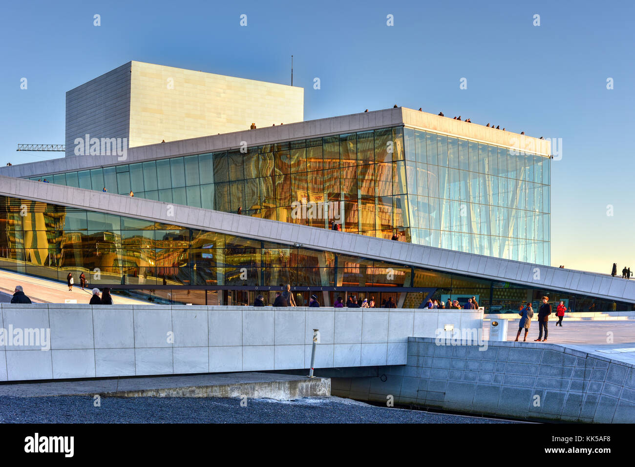 Oslo, Norway   February 27, 2016: The Oslo Opera House, Home Of The  Norwegian National Opera And Ballet And The National Opera Theatre. It Is  Situated Amazing Design
