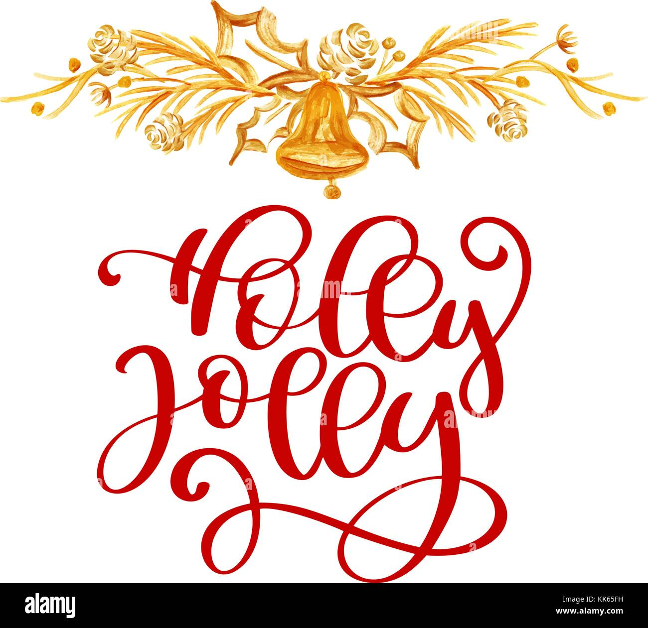 Have text Holly Jolly Christmas and gold decor. Christmas greeting ...